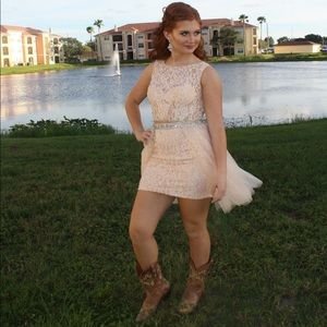 White/cream Sherri Hill homecoming dress